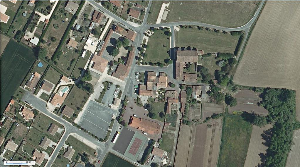 Photographie aérienne, le Bourg de Sainte-Gemme
