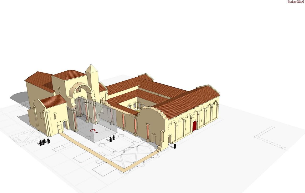 Première moitié du XIIe siècle : une nouvelle nef est tracée et commencée et la plupart des bâtiments claustraux sont construits