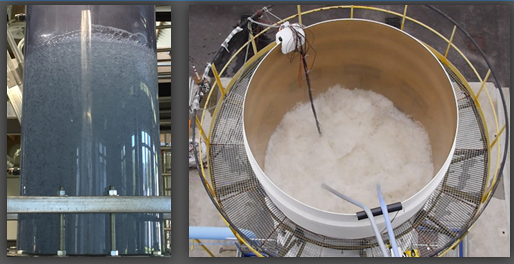 bubble column at LEGI (400mm diameter, left) and at IFPEN-Solaize (3000mm, right)