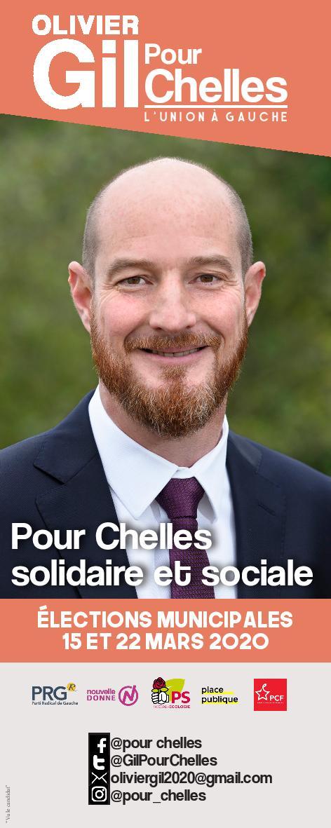 Kakémono campagne municipales 2020- Olivier Gil pour Chelles
