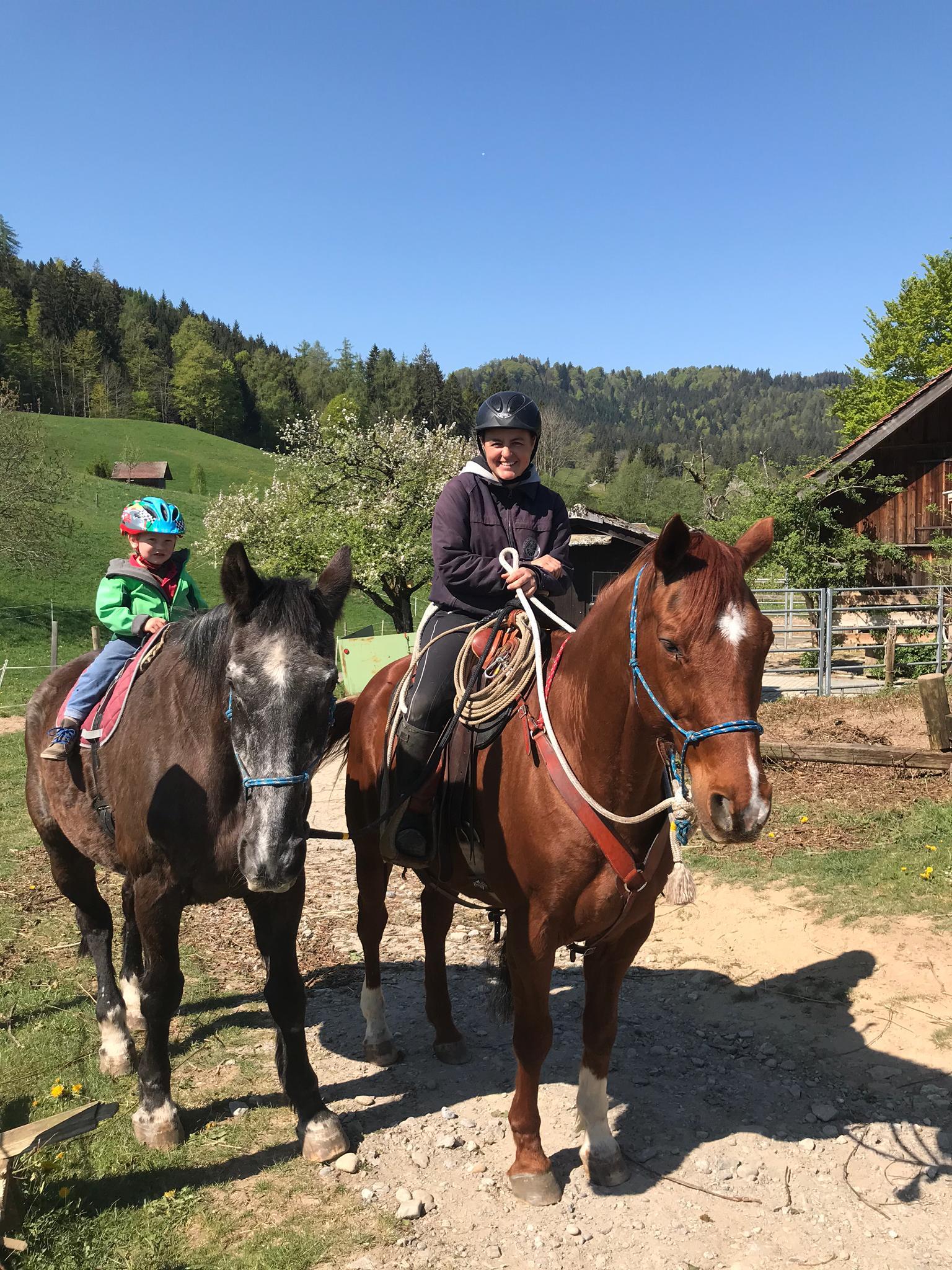 """Steffi Köppel mit ihren zwei Military Pferden ganz nach dem Motto """"alte Pferde junge Reiter"""", Pferd Pamino 27-jährig mit Sohn Lenny 4-jährig."""