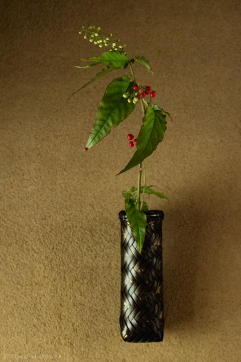 金箔装飾をほどこした一輪挿しも。『竹網代編金彩花籠』