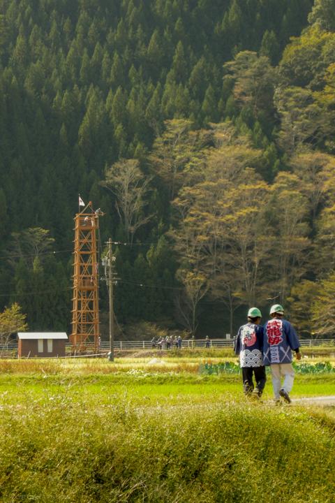 朝比奈大龍勢、打上げ前の発射台(2014)