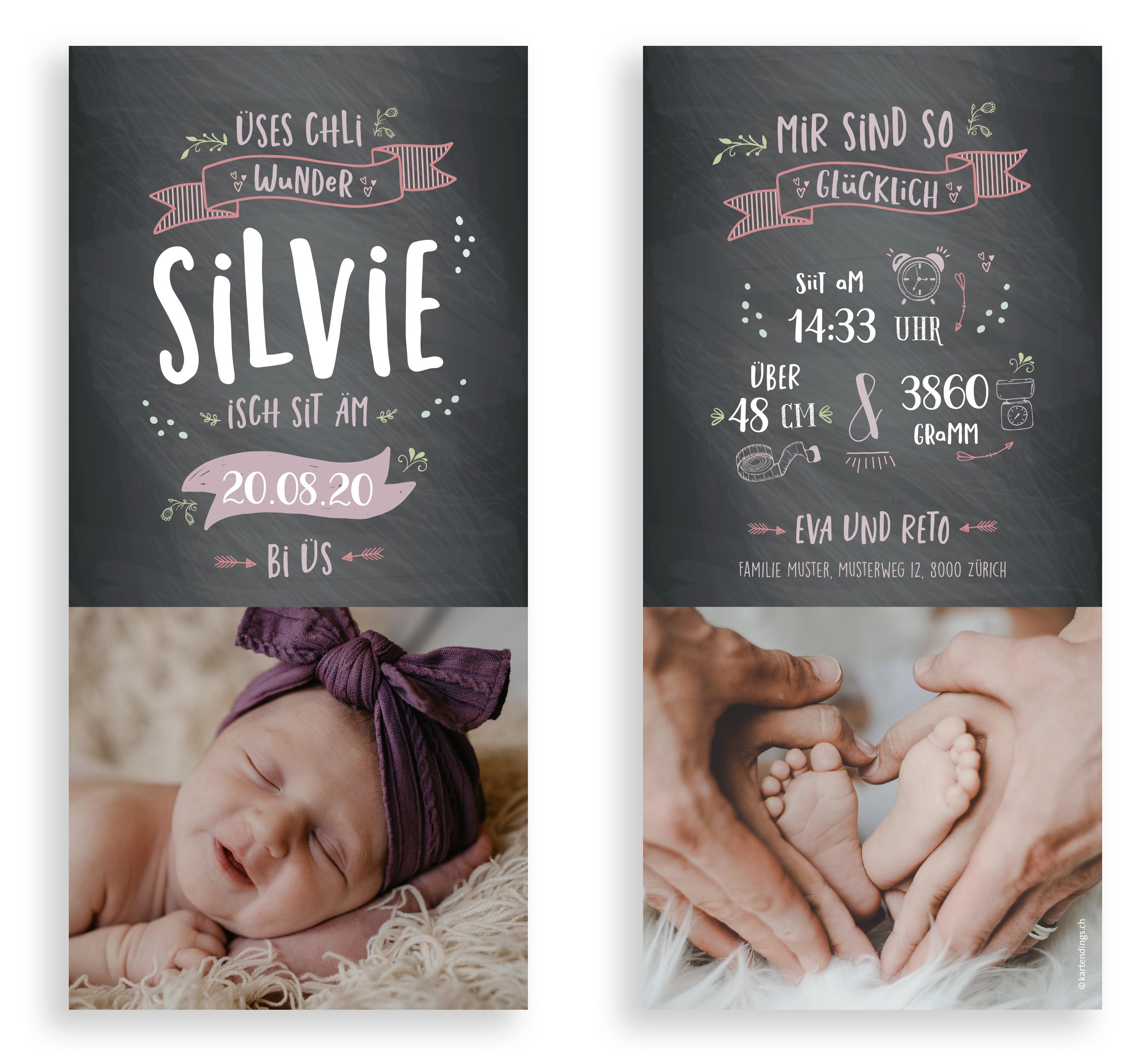 Geburtskarte Geburtsanzeige Babykarte zur Geburt kartendings.ch Schweiz