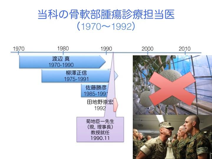 1970年代から80年代、当時の助教授渡辺真先生と講師柳澤正信先生が骨軟部腫瘍の診療を担当。さらに佐藤勝彦(現、大原綜合病院院長)先生も加わって、3人体制に。しかし、1990年の菊地教授就任を契機に、渡辺先生と柳澤先生は相次いで大学を退職。佐藤先生は、骨軟部腫瘍の専門診療を辞めて、現在もご専門の脊椎を担当。骨軟部腫瘍を診療する医師がいなくなり、私が選ばれた。しかし、骨軟部腫瘍は難しい分野であり、大事に育てられては実を結ばないということで、厳しい環境での訓練が必要だった。