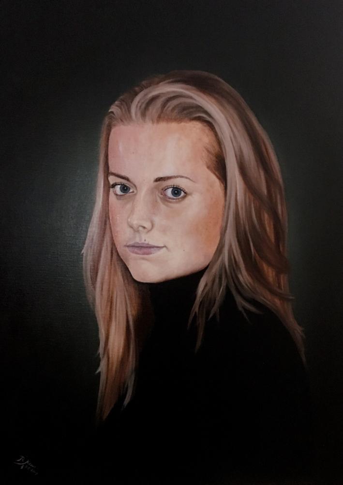 Lisa - Olieverf op linnen - formaat 70 x 100 cm ( geïnspireerd op werk van Desiree Dolron)