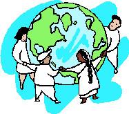 Dessin de quatre personnages, en blanc, se tenant la main autour d'un globe terrestre. deux femmes, deux hommes.