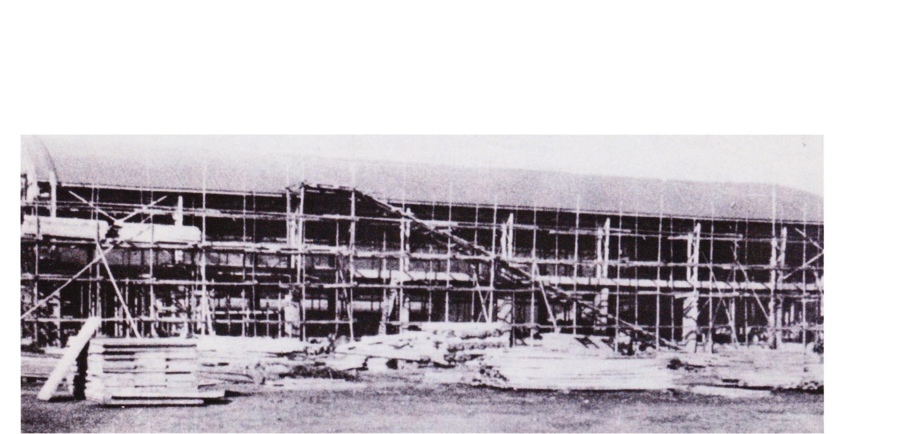 体育館兼講堂の工事(昭和34年)