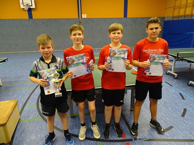 Sieger Einzel Simon Kleineheilmann (1.), Till Neske (2.), Bennett Büker und Max Lübbert (3.)