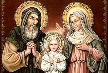 San Juaquín y Santa Ana junto a la Virgen Niña