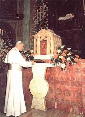 Juan Pablo II en el Santuario de María Bambina