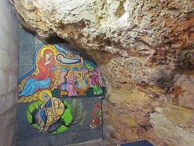 Lugar exacto en que la Tradición afirma nació la Virgen Niña, el lugar más Sagrado del Santuario Basílica de Santa Ana en Jerusalen