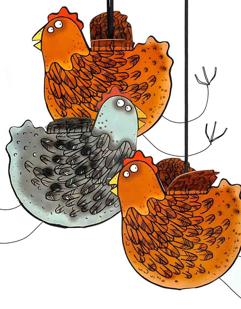 3D Hanging Hen / Chicken Bird Cards