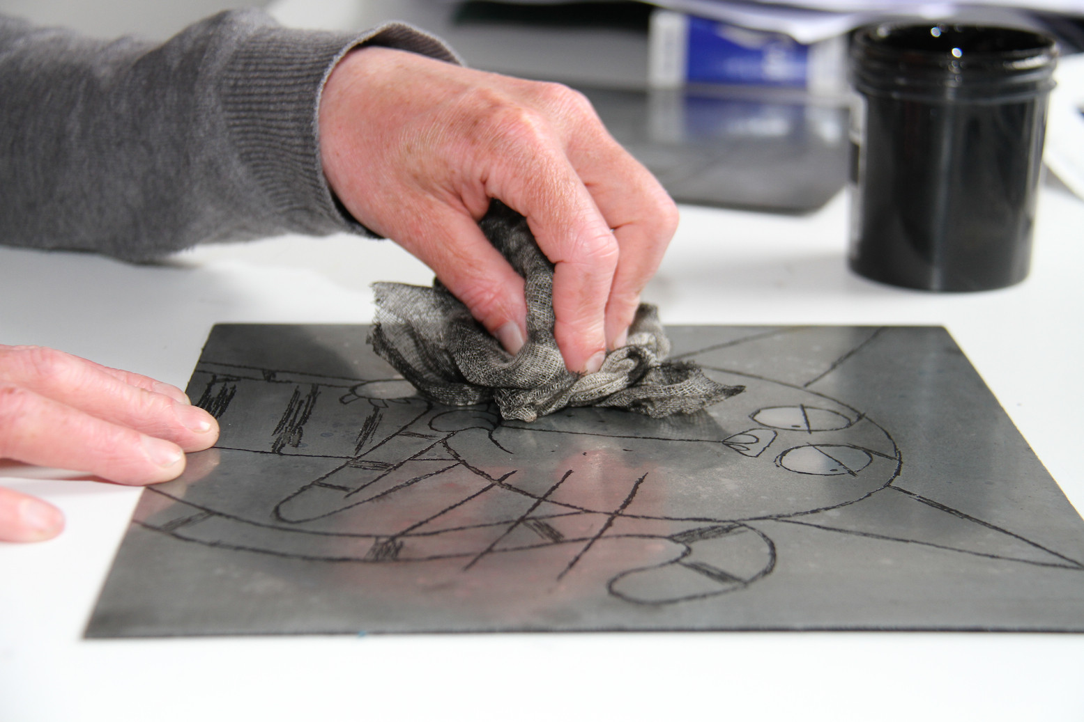 Another example of acid plate etching at a printmaking workshop