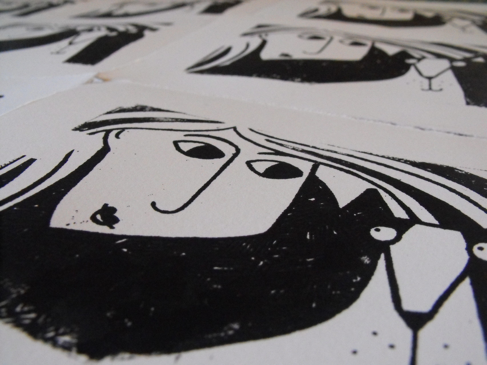 An example of a gocco print shown at a printmaking workshop