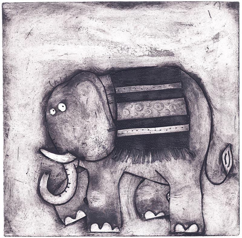 Elephant printmaking collagraph process