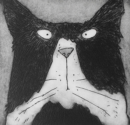 'Mr Tom' humourous black and white Tom Cat acid plate etching print