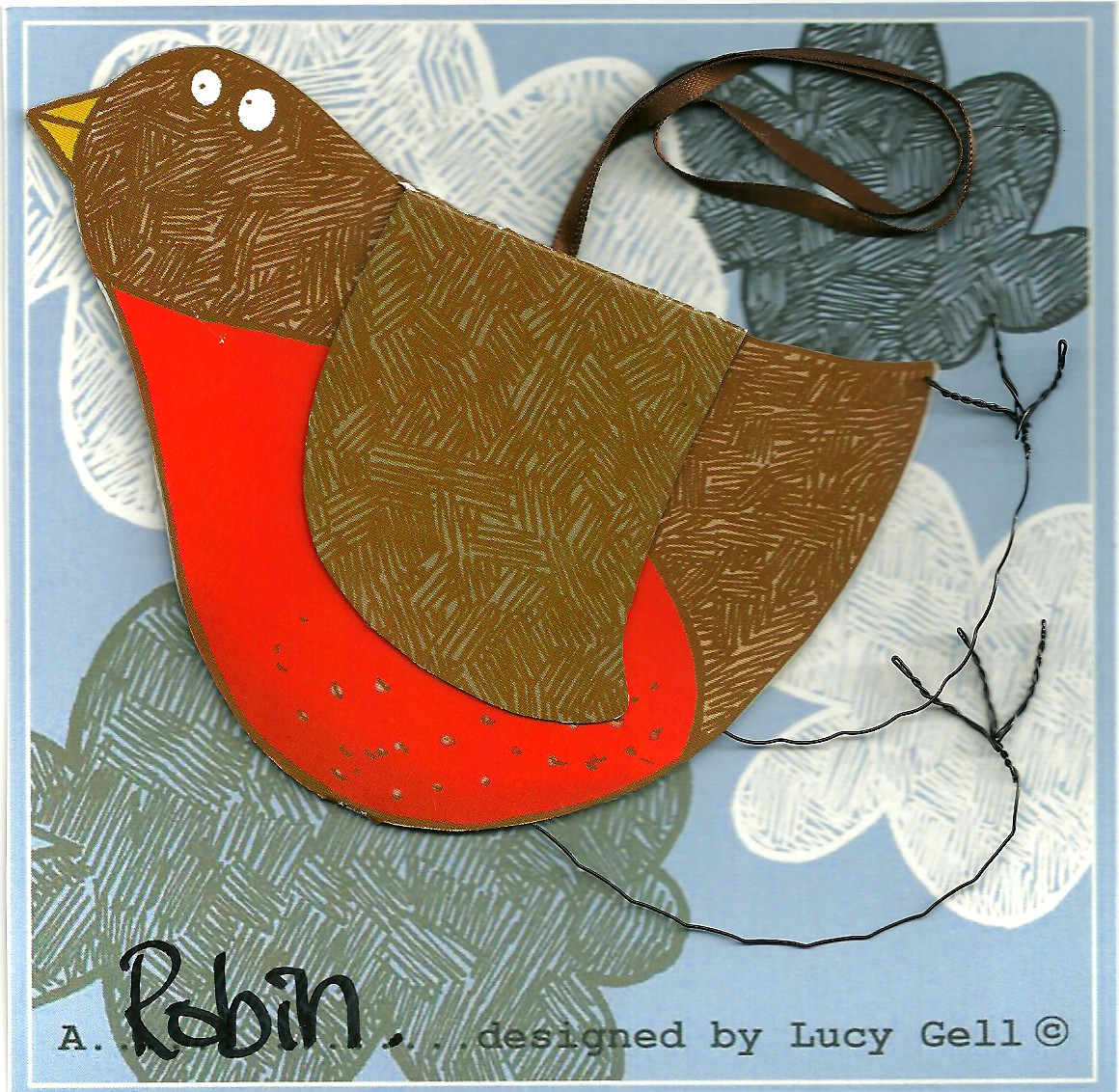 Pop-up 3D hanging Robin Red Breast card