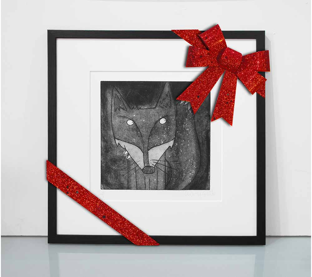 Foxy - Fox acid plate etching print