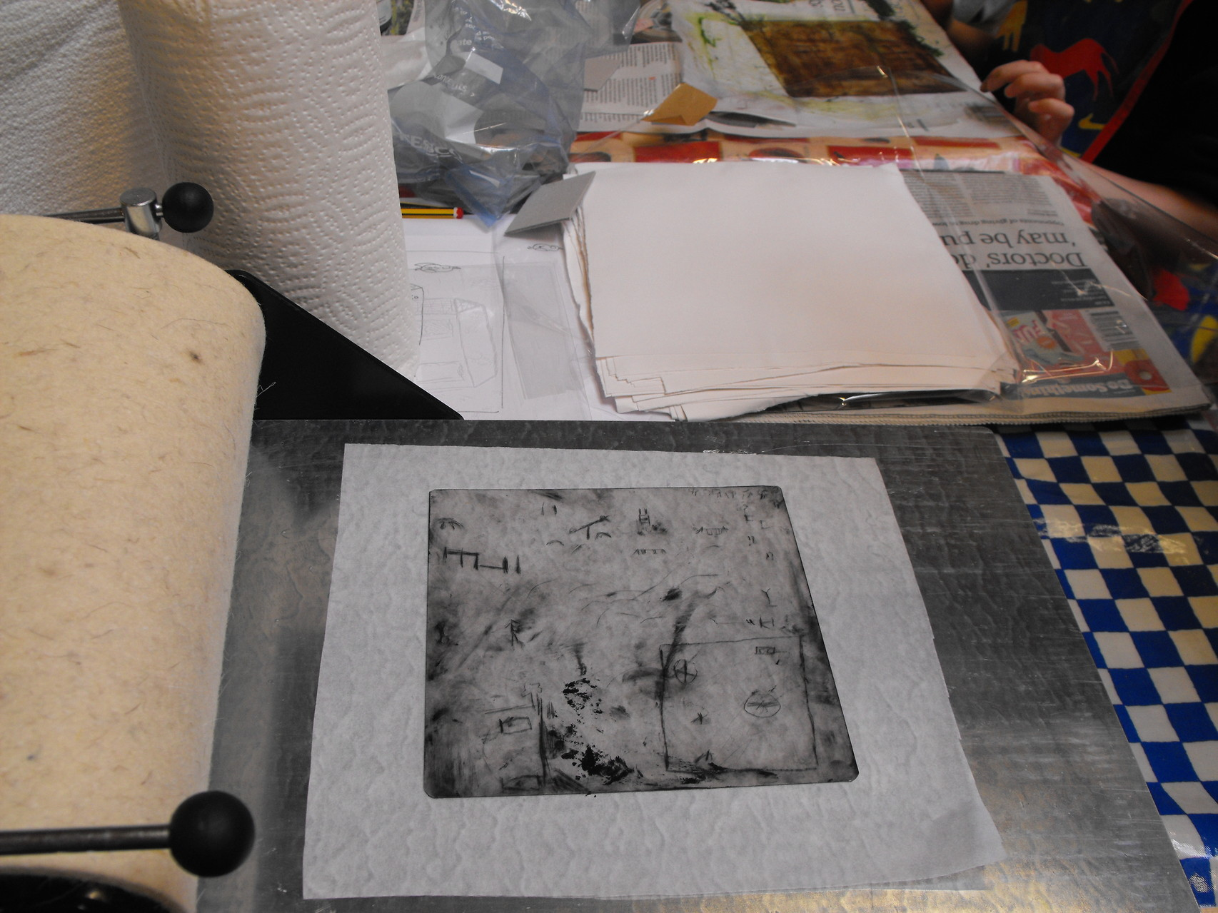 An acid plate etching print at a printmaking workshop