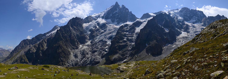 Hautes Alpes, La Grave 2400 (glacier du Tabuchet, pic et glacier de la Meije, le râteau)