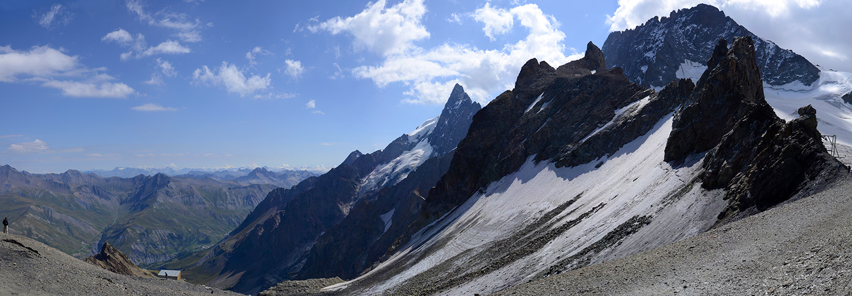 Hautes Alpes, La Grave 3200 (Grand pic et glacier de la Meije, glacier du Vallon et le râteau)