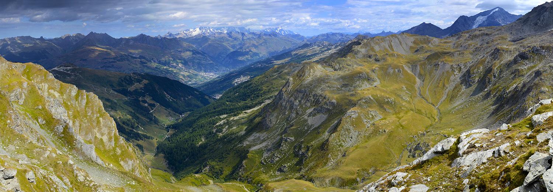 La Plagne, Roche de Mio (vue sur le massif du Mt Blanc et le Mt Pourri)
