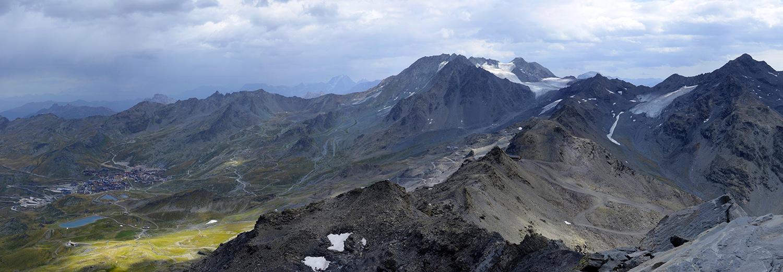 Val Thorens, la cime Caron (3200m) (vue sur glaciers de Chavière et du Bouchet)