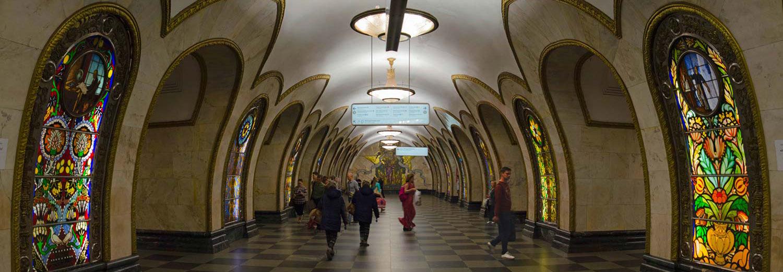 Moscou, le métro (station Novoslobodskaya)