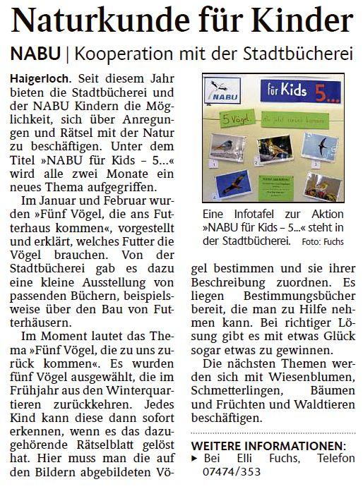 Quelle: Schwarzwälder Bote Haigerloch und Umgebung - 23. März 2017