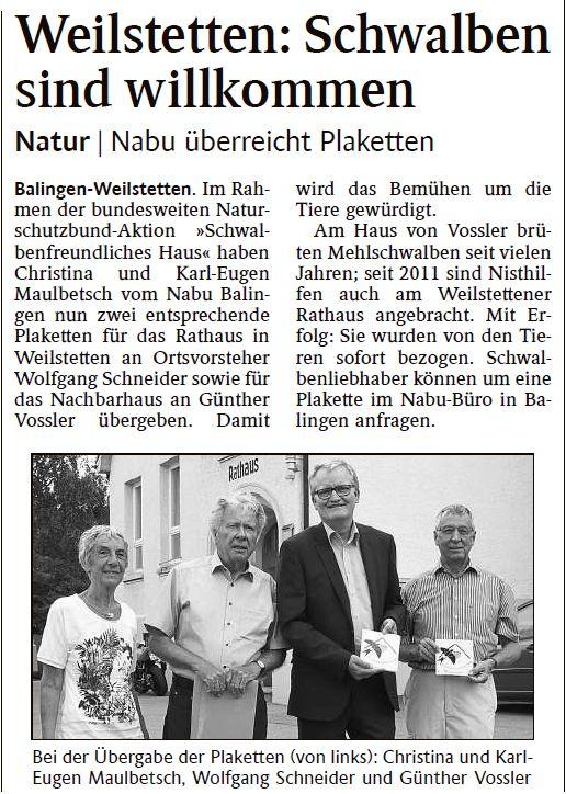 Quelle: Schwarzwälder Bote Balingen - 01. Juli 2017