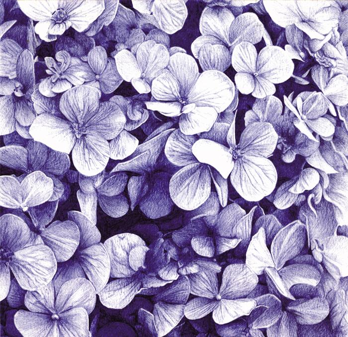 Entre flores azules