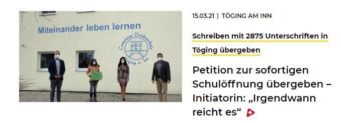 16.03.2021 - Schreiben mit 2875 Unterschriften übergeben - IS 24