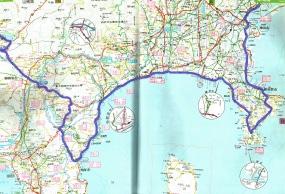 日本地図の東海道のページ  熱海から十国峠、箱根峠、籠坂峠の道は一番厳しかった。