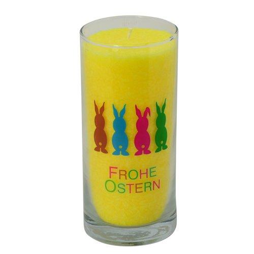 """PALM LIGHT - Kerze in gelb und Grün mit Etikett """"FROHE OSTERN"""""""