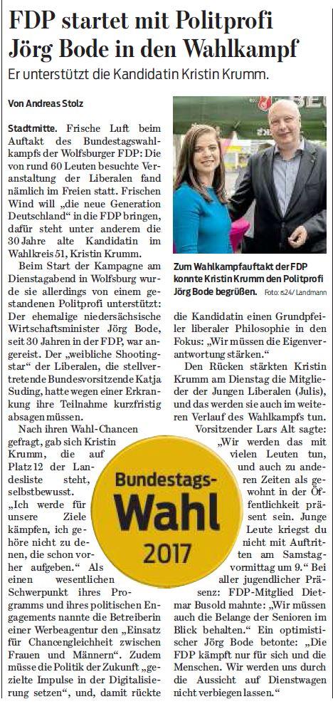 Wolfsburger Nachrichten, 09.08.2017
