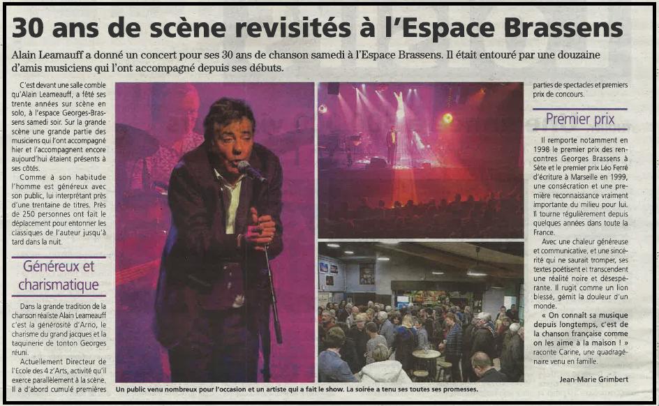 30 ans de scène revisités à l'Espace Brassens
