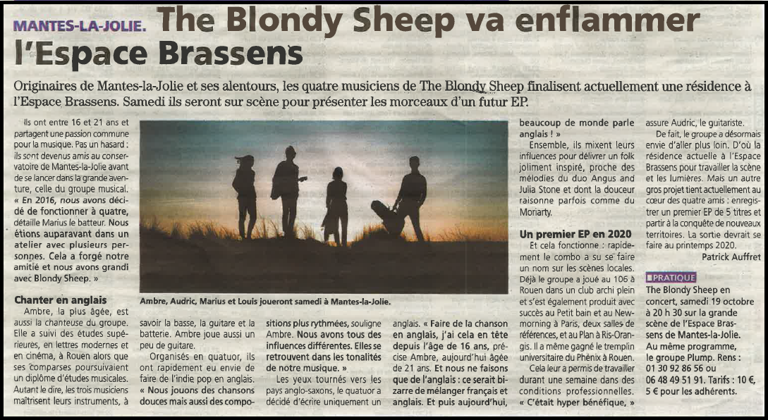 The Blondy Sheep va enflammer l'Espace Brassens