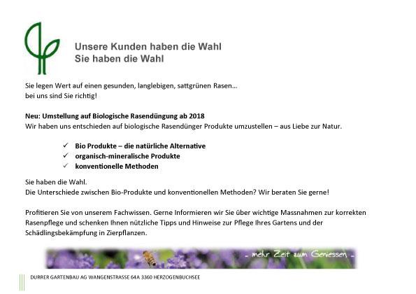 Umstellung auf biologische Rasendüngung - Durrer Gartenbau AG Herzogenbuchsee