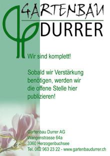 Offene Stellen - Durrer Gartenbau AG Herzogenbuchsee