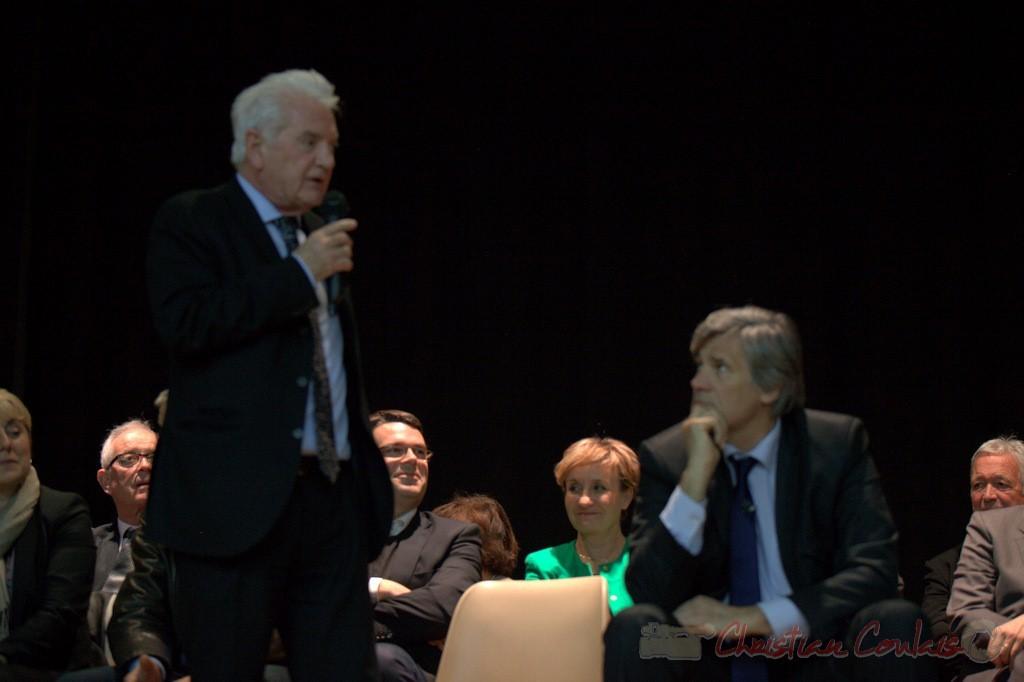 """Sourires de Dominique Fedieu et Pascale Got. Meeting """"Majorité départementale"""" aux élections départementales de la Gironde, Blasimon, 9 mars 2015"""