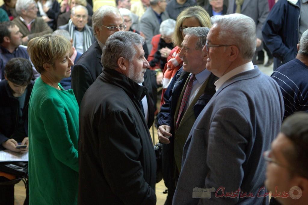 """Pascale Got, Alain David, Jean-Marie Darmian, Pierre Ducout. Meeting """"Majorité départementale"""" aux élections départementales de la Gironde, Blasimon, 9 mars 2015"""
