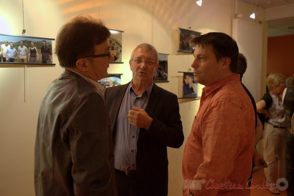 Lionel Faye, Maire de Quinsac, Bernard Capdepuy, Patrick Perez élus de Quinsac. Festival JAZZ360 2015, médiathèque de Latresne. 28/05/2015