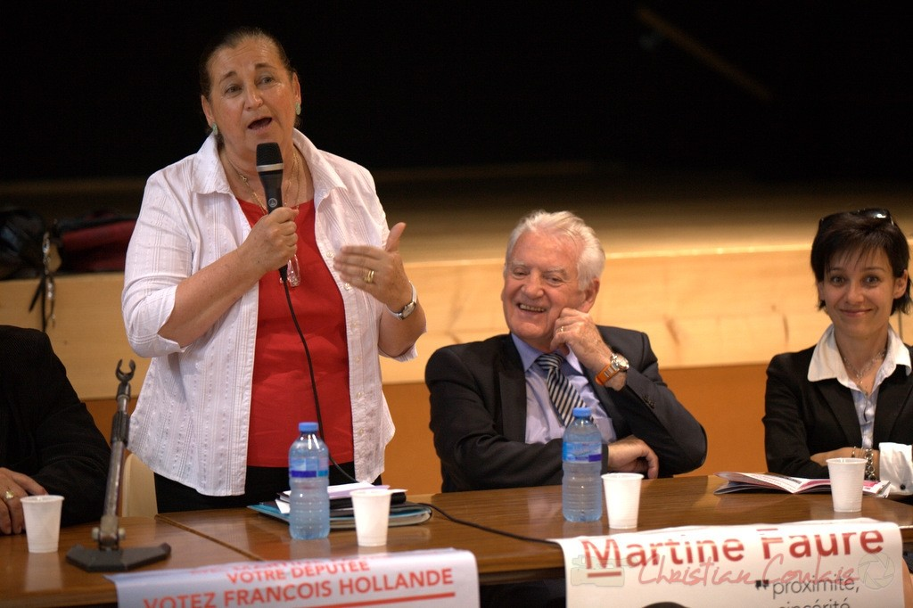 Campagne pour les élections législatives 2012, avec Martine Faure, Philippe Madrelle, Président du Conseil général de la Gironde.
