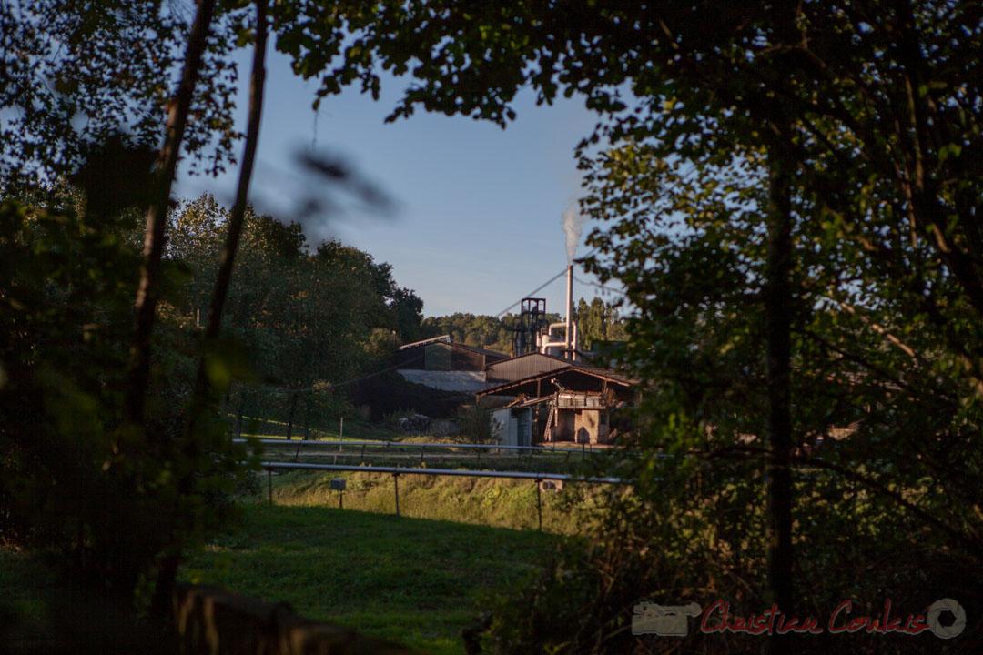 L'arrière de la distillerie Douence, et le parc des bassins de rétentions. Saint-Genès-de-Lombaud, Gironde