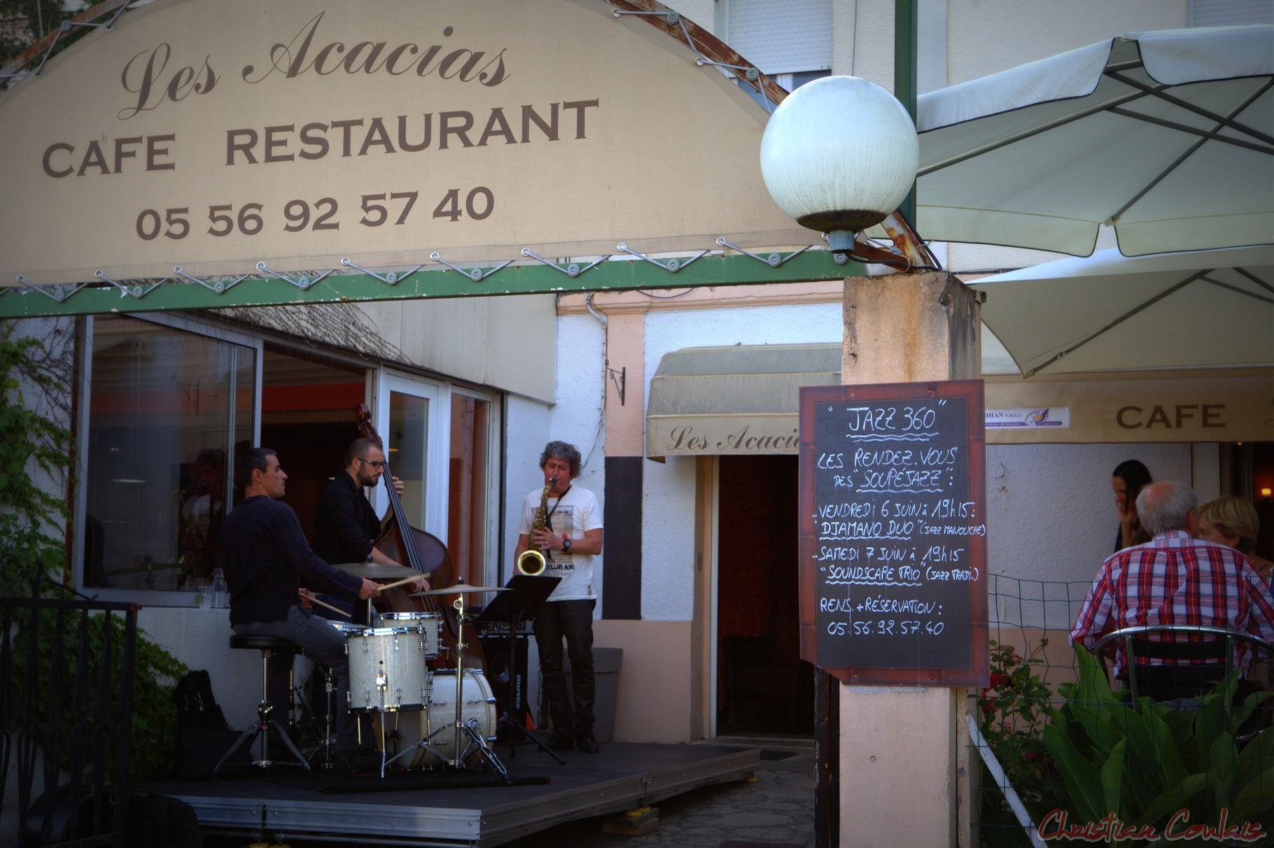 Festival JAZZ360 2014, Soundscape Trio, restaurant les Acacias, Cénac
