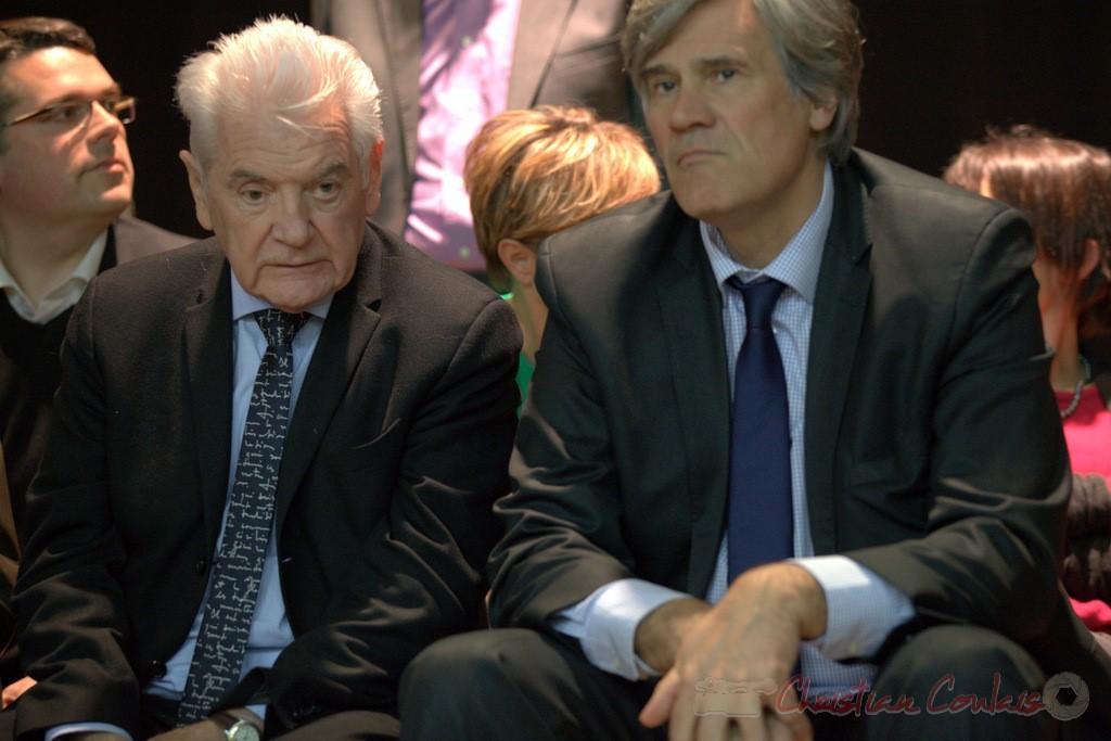 """Philppe Madrelle, Stéphane Le Foll. Meeting """"Majorité départementale"""" aux élections départementales de la Gironde, Blasimon, 9 mars 2015"""