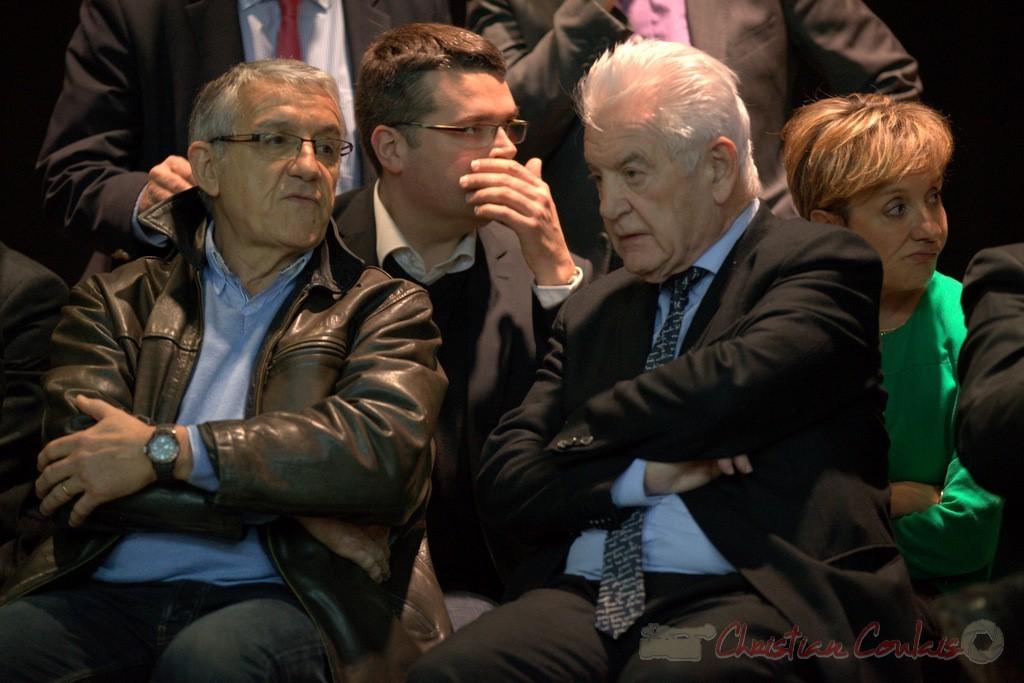 """Bernard Castagnet, Dominique Fedieu, Philippe Madrelle, Pascale Got. Meeting """"Majorité départementale"""" aux élections départementales de la Gironde, Blasimon, 9 mars 2015"""