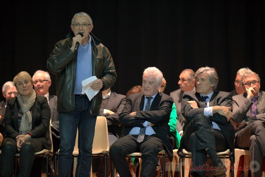 """Bernard Castagnet, Conseiller général du canton de La Réole. Meeting """"Majorité départementale"""" aux élections départementales de la Gironde, Blasimon, 9 mars 2015"""
