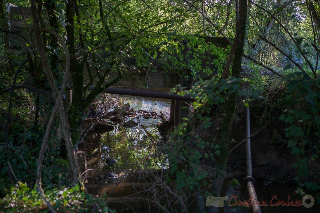 Le ruisseau de Lubert, entre Haux et Saint-Genès-de-Lombaud, mitoyen de la distillerie Douence (pont d'accès aux bassins de rétention)